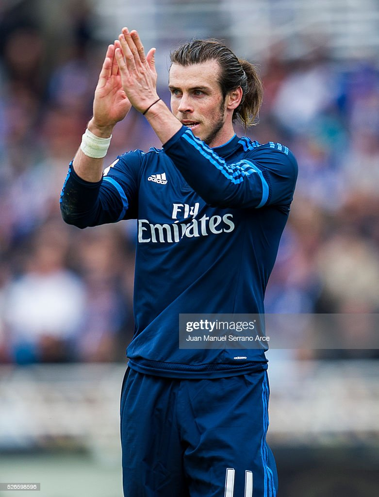 <a gi-track='captionPersonalityLinkClicked' href=/galleries/search?phrase=Gareth+Bale&family=editorial&specificpeople=609290 ng-click='$event.stopPropagation()'>Gareth Bale</a> of Real Madrid reacts during the La Liga match between Real Sociedad de Futbol and Real Madrid at Estadio Anoeta on April 30, 2016 in San Sebastian, .