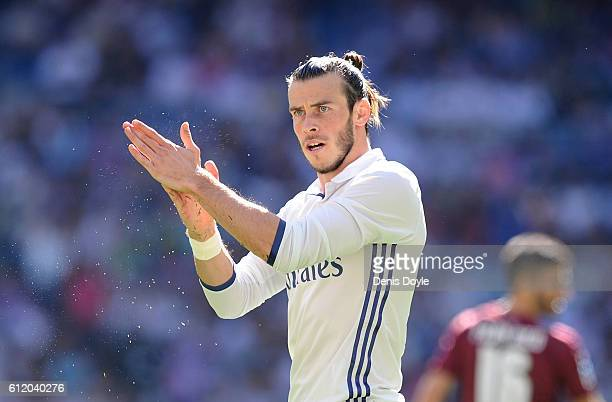 Gareth Bale of Real Madrid reacts during the La Liga Match between Real Madrid CF and SD Eibar at estadio Santiago Bernabeu on October 2 2016 in...