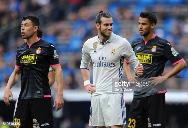 Gareth Bale of Real Madrid reacts during the La Liga match between Real Madrid CF and RCD Espanyol at the Bernabeu stadium on February 18 2017 in...