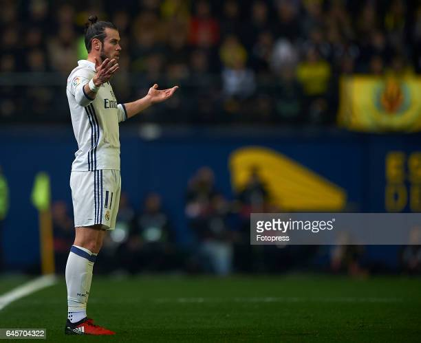 Gareth Bale of Real Madrid reacts during the La Liga match between Villarreal CF and Real Madrid at Estadio de la Ceramica on February 26 2017 in...