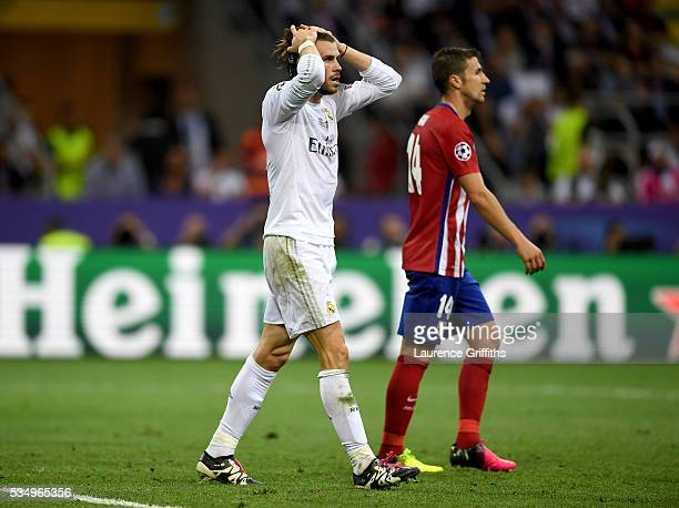 Gareth Bale of Real Madrid reacts during the UEFA Champions League Final match between Real Madrid and Club Atletico de Madrid at Stadio Giuseppe...