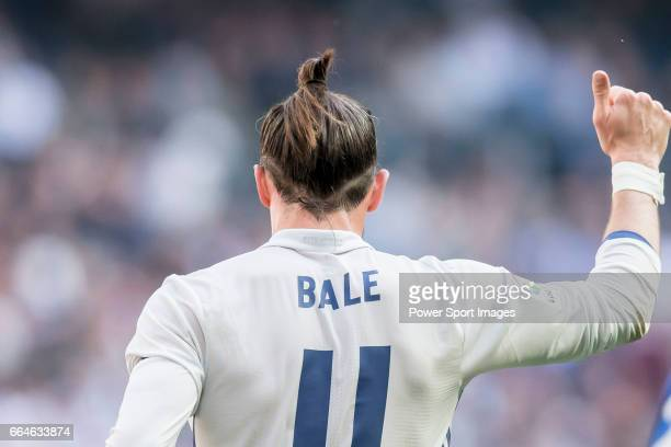 Gareth Bale of Real Madrid reacts during their La Liga match between Real Madrid and Deportivo Alaves at the Santiago Bernabeu Stadium on 02 April...