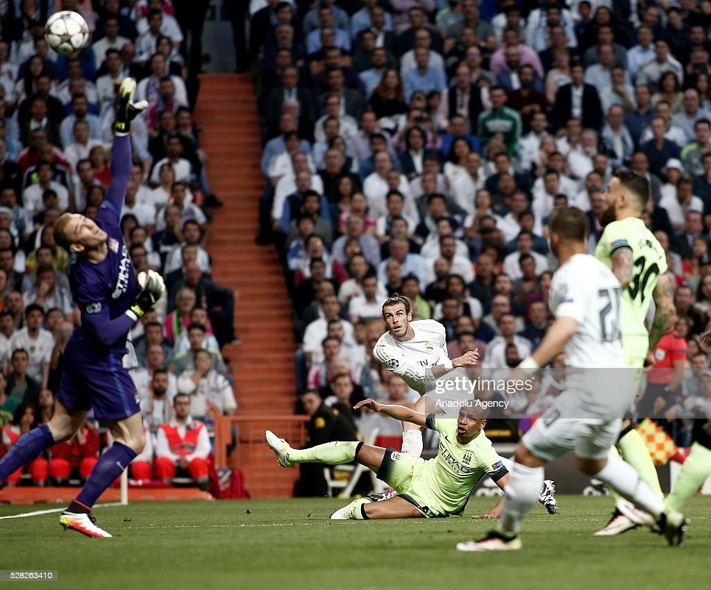 Gareth Bale of Real Madrid scores a goal during the UEFA Champions League semi-final second leg football match between Real Madrid and Manchester City at the Santiago Bernabeu Stadium in Madrid, Spain on May 4, 2016.