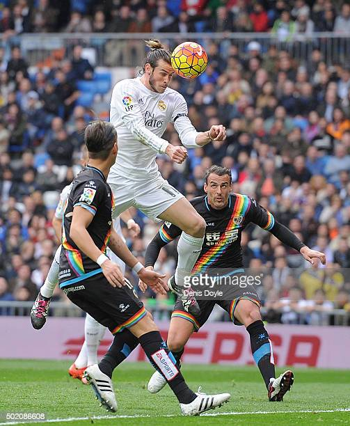 Gareth Bale of Real Madrid scores his team's 2nd goal during the La Liga match between Real Madrid and Rayo Vallecano at estadio Santiago Bernabeu on...