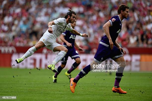 Gareth Bale of Real Madrid scores the second goal during the Audi Cup 2015 match between Real Madrid and Tottenham Hotspur at Allianz Arena on August...