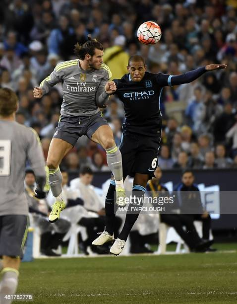 Gareth Bale of Real Madrid vies for the ball with Fernando Reges of Manchester City during the International Champions Cup football match between...