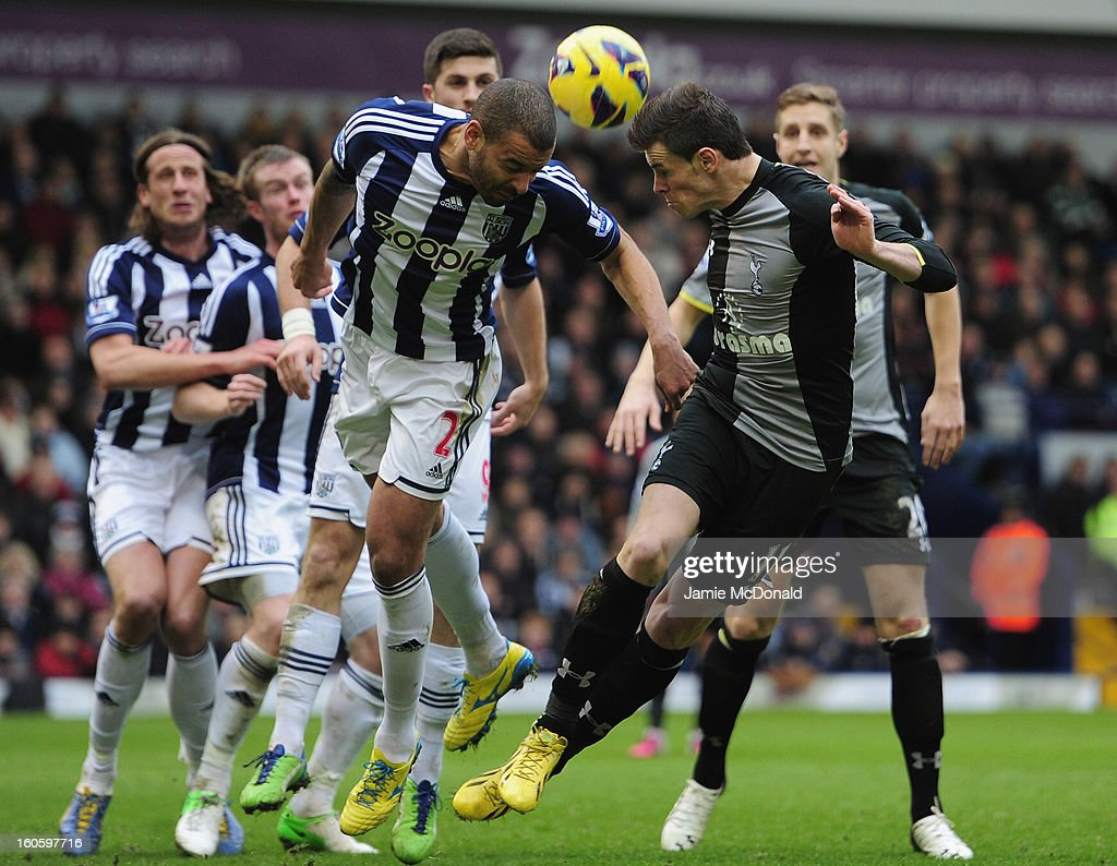 Gareth Bale of Spurs battles with Steven Reid of West Bromwich Albion during the Barclay's Premier League match between West Bromwich Albion and Tottenham Hotspur at The Hawthorns on February 3, 2013 in West Bromwich, England.