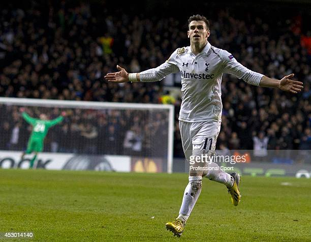 Gareth Bale of Spurs celebrates after scoring his team's match winning goal from a free kick during the UEFA Europa League round of 32 first leg...