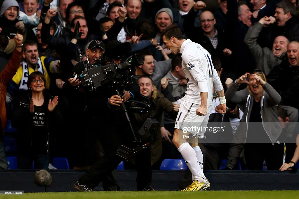 Gareth Bale of Spurs celebrates after scoring the opening goal during the Barclays Premier League match between Tottenham Hotspur and Arsenal FC at White Hart Lane on March 3, 2013 in London, England.