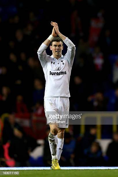Gareth Bale of Spurs celebrates following his team's 21 victory during the Barclays Premier League match between Tottenham Hotspur and Arsenal FC at...
