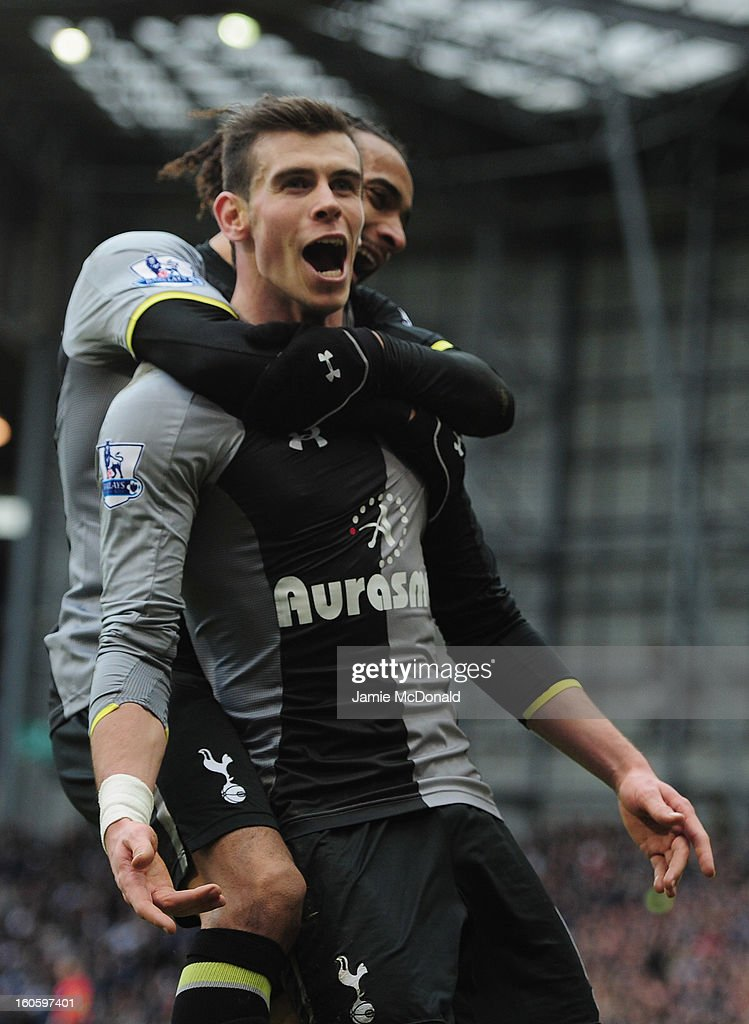 <a gi-track='captionPersonalityLinkClicked' href=/galleries/search?phrase=Gareth+Bale&family=editorial&specificpeople=609290 ng-click='$event.stopPropagation()'>Gareth Bale</a> of Spurs celebrates his goal during the Barclay's Premier League match between West Bromwich Albion and Tottenham Hotspur at The Hawthorns on February 3, 2013 in West Bromwich, England.