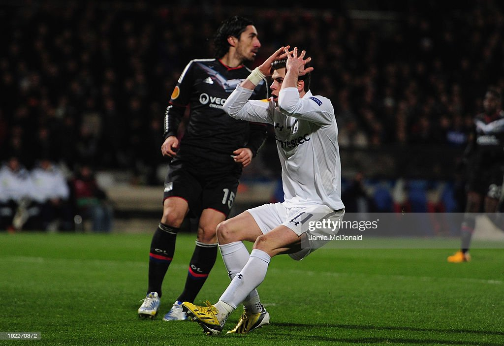 Gareth Bale of Spurs rues a missed chance during the UEFA Europa League Round of 32, second leg match between Olympique Lyonnais and Tottenham Hotspur FC at Stade de Gerland on February 21, 2013 in Lyon, France.