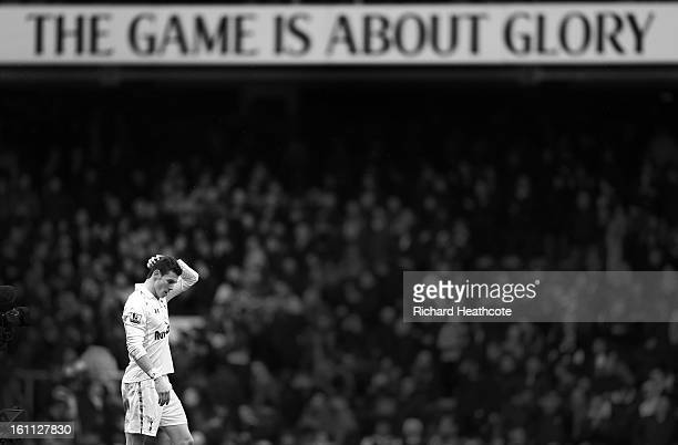 Gareth Bale of Tottenham applaudes the fans at the final whistle during the Barclay's Premier League match between Tottenham Hotspur and Newcastle...