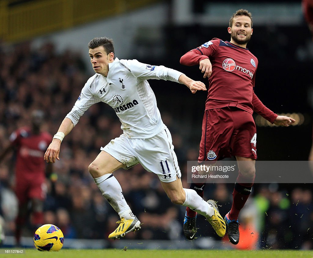 <a gi-track='captionPersonalityLinkClicked' href=/galleries/search?phrase=Gareth+Bale&family=editorial&specificpeople=609290 ng-click='$event.stopPropagation()'>Gareth Bale</a> of Tottenham goes past <a gi-track='captionPersonalityLinkClicked' href=/galleries/search?phrase=Yohan+Cabaye&family=editorial&specificpeople=648909 ng-click='$event.stopPropagation()'>Yohan Cabaye</a> of Newcastle during the Barclay's Premier League match between Tottenham Hotspur and Newcastle United at White Hart Lane on February 9, 2013 in London, England.