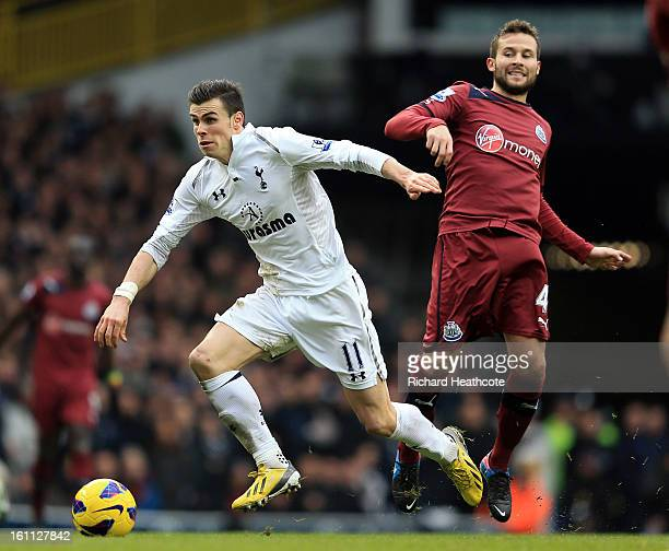 Gareth Bale of Tottenham goes past Yohan Cabaye of Newcastle during the Barclay's Premier League match between Tottenham Hotspur and Newcastle United...