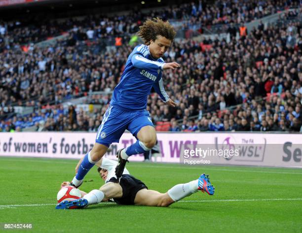 Gareth Bale of Tottenham Hotspur and David Luiz of Chelsea in action during the FA Cup Semi Final at Wembley Stadium on April 15 2012 in London...