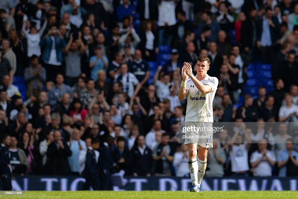 <a gi-track='captionPersonalityLinkClicked' href=/galleries/search?phrase=Gareth+Bale&family=editorial&specificpeople=609290 ng-click='$event.stopPropagation()'>Gareth Bale</a> of Tottenham Hotspur applauds the fans at the final whistle during the Barclays Premier League match between Tottenham Hotspur and Southampton at White Hart Lane on May 4, 2013 in London, England.