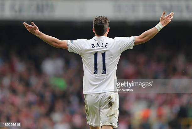 Gareth Bale of Tottenham Hotspur celebrates a goal during the Barclays Premier League match between Tottenham Hotspur and Sunderland at White Hart...