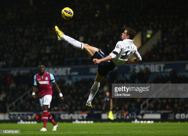 Gareth Bale of Tottenham Hotspur performs an overhead kick during the Barclays Premier League match between West Ham United and Tottenham Hotspur at...