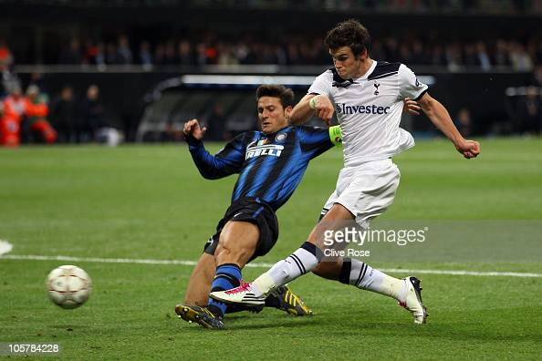 Gareth Bale of Tottenham Hotspur scores his second goal during the UEFA Champions League Group A match between FC Internazionale Milano and Tottenham...