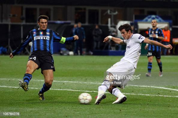 Gareth Bale of Tottenham Hotspur scores his third goal during the UEFA Champions League Group A match between FC Internazionale Milano and Tottenham...
