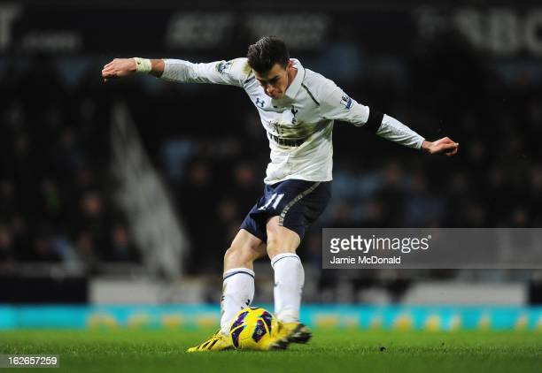 Gareth Bale of Tottenham Hotspur scores the winning goal during the Barclays Premier League match between West Ham United and Tottenham Hotspur at...