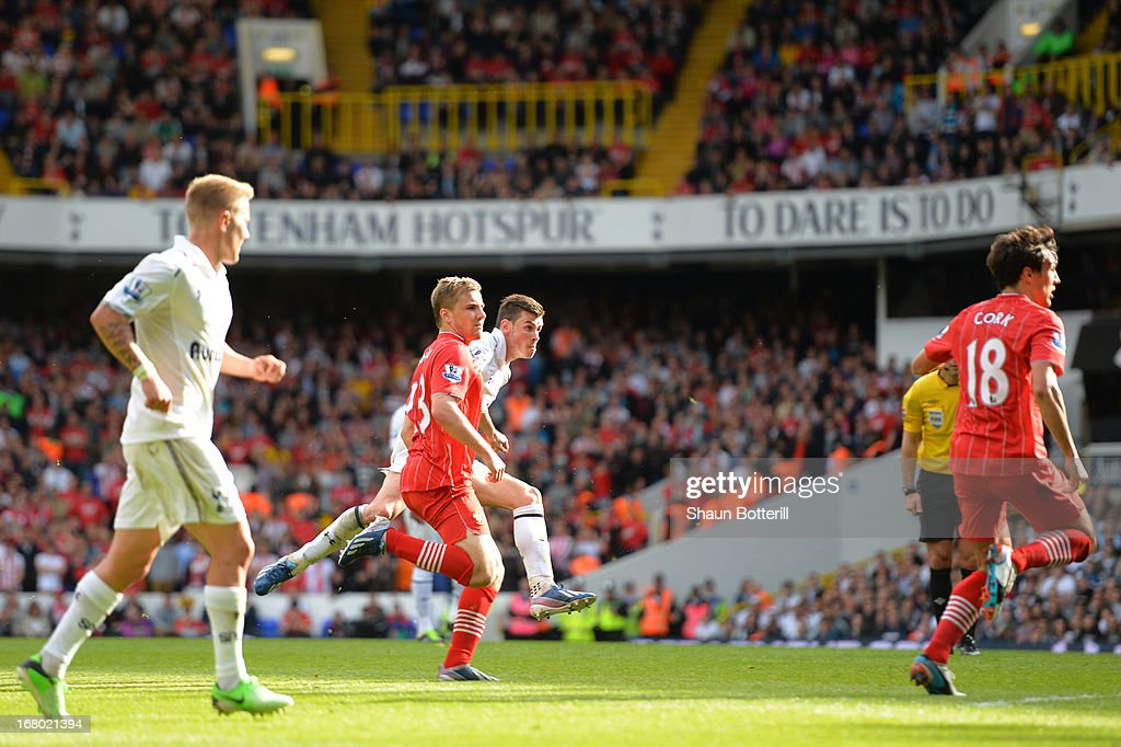 <a gi-track='captionPersonalityLinkClicked' href=/galleries/search?phrase=Gareth+Bale&family=editorial&specificpeople=609290 ng-click='$event.stopPropagation()'>Gareth Bale</a> of Tottenham Hotspur scores their first goal during the Barclays Premier League match between Tottenham Hotspur and Southampton at White Hart Lane on May 4, 2013 in London, England.