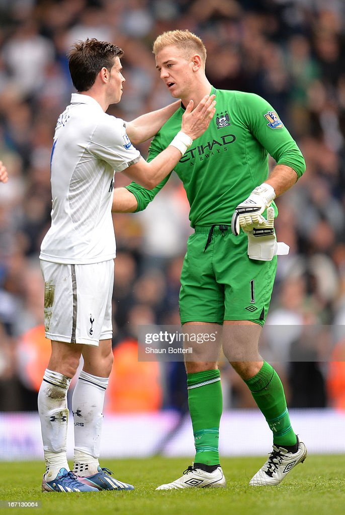 <a gi-track='captionPersonalityLinkClicked' href=/galleries/search?phrase=Gareth+Bale&family=editorial&specificpeople=609290 ng-click='$event.stopPropagation()'>Gareth Bale</a> of Tottenham Hotspur shakes hands with <a gi-track='captionPersonalityLinkClicked' href=/galleries/search?phrase=Joe+Hart&family=editorial&specificpeople=1295472 ng-click='$event.stopPropagation()'>Joe Hart</a> of Manchester City at the final whistle during the Barclays Premier League match between Tottenham Hotspur and Manchester City at White Hart Lane on April 21, 2013 in London, England.