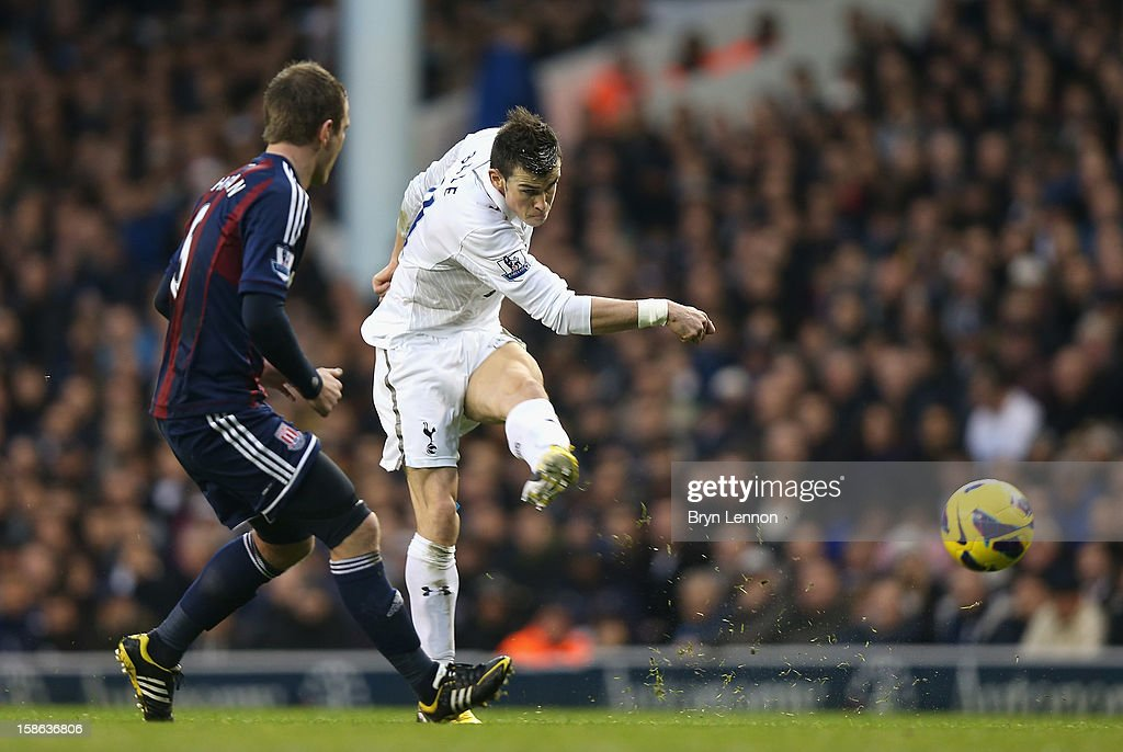<a gi-track='captionPersonalityLinkClicked' href=/galleries/search?phrase=Gareth+Bale&family=editorial&specificpeople=609290 ng-click='$event.stopPropagation()'>Gareth Bale</a> of Tottenham Hotspur shoots towards goal during the Barclays Premier League match between Tottenham Hotspur and Stoke City at White Hart Lane on December 22, 2012 in London, England.
