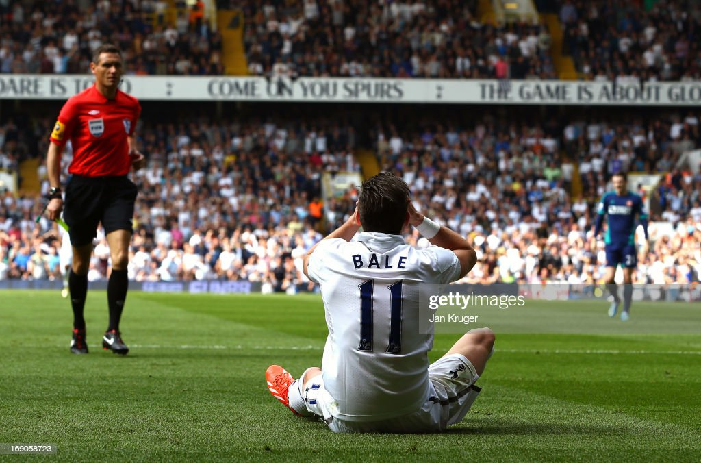 <a gi-track='captionPersonalityLinkClicked' href=/galleries/search?phrase=Gareth+Bale&family=editorial&specificpeople=609290 ng-click='$event.stopPropagation()'>Gareth Bale</a> of Tottenham reacts to a yellow card from Referee, Andre Marriner for diving during the Barclays Premier League match between Tottenham Hotspur and Sunderland at White Hart Lane on May 19, 2013 in London, England.