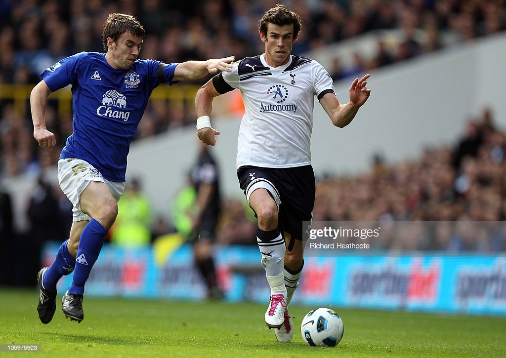 Gareth Bale of Tottenham shrugs off the challenge of Seamus Coleman of Everton during the Barclays Premier League match between Tottenham Hotspur and Everton at White Hart Lane on October 23, 2010 in London, England.