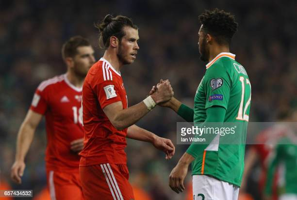 Gareth Bale of Wales and Cyrus Christie of the Republic of Ireland shake hands after the FIFA 2018 World Cup Qualifier between Republic of Ireland...