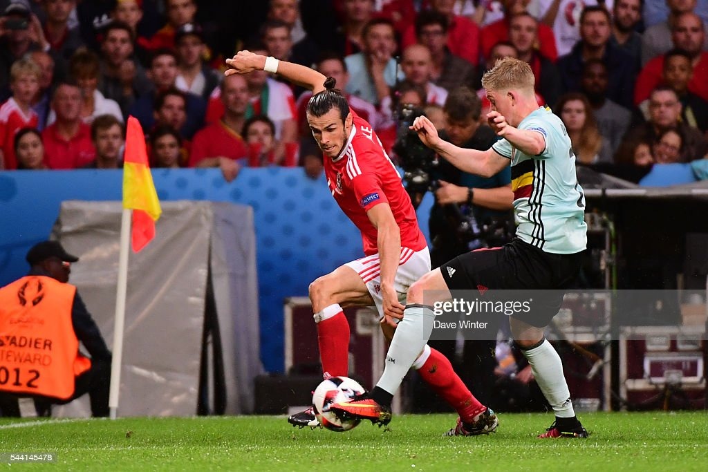 Gareth Bale of Wales and Kevin De Bruyne of Belgium during the UEFA Euro 2016 Quater Final between Wales and Belgium at Stade Pierre-Mauroy on July 1, 2016 in Lille, France.