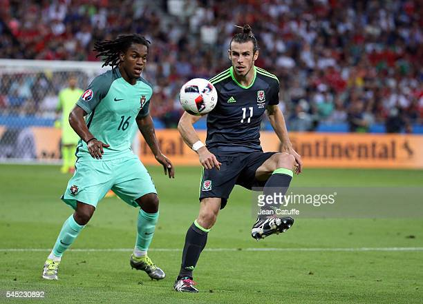 Gareth Bale of Wales and Renato Sanches of Portugal in action during the UEFA Euro 2016 semifinal between Wales and Portugal at Parc OL Stade des...
