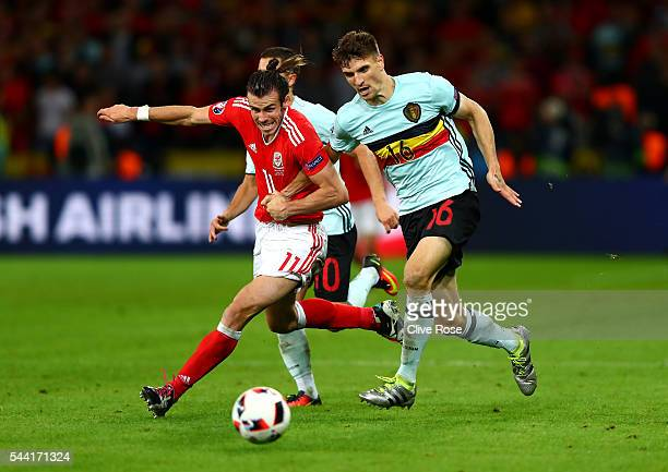 Gareth Bale of Wales and Thomas Meunier of Belgium compete for the ball during the UEFA EURO 2016 quarter final match between Wales and Belgium at...