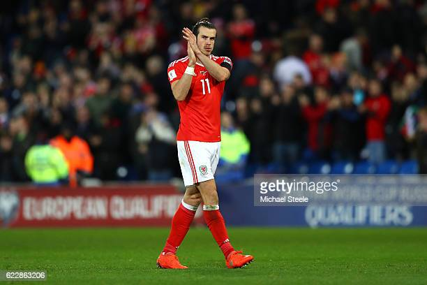 Gareth Bale of Wales applauds the fans at the end of the FIFA 2018 World Cup Qualifier between Wales and Serbia at Cardiff City Stadium on November...