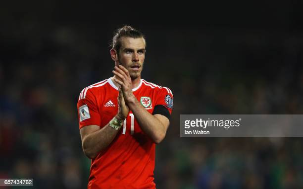 Gareth Bale of Wales applauds the travelling fans after the FIFA 2018 World Cup Qualifier between Republic of Ireland and Wales at Aviva Stadium on...