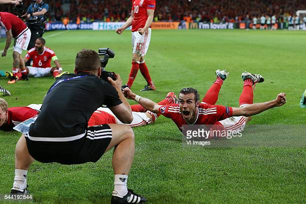Gareth Bale of Wales celebrate photographer during the UEFA EURO 2016 quarter final match between Wales and Belgium on July 2 2016 at the Stade...