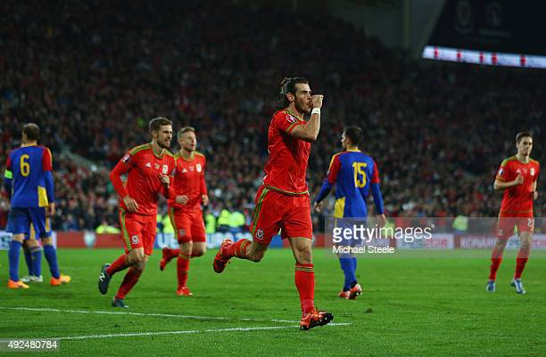 Gareth Bale of Wales celebrates as he scores their second goal during the UEFA EURO 2016 qualifying Group B match between Wales and Andorra at...