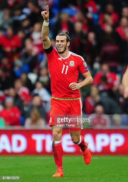 Gareth Bale of Wales celebrates his sides first goal during the 2018 FIFA World Cup Qualifier between Wales and Georgia at the Cardiff City Stadium...