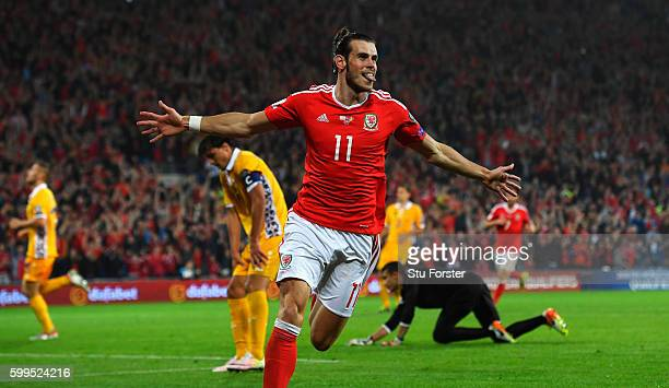 Gareth Bale of Wales celebrates scoring his sides third goal during the 2018 FIFA World Cup Qualifier Group D match between Wales and Moldova at...
