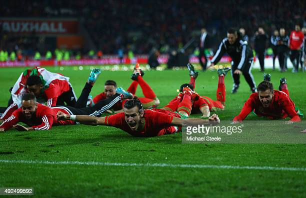 Gareth Bale of Wales celebrates victory with team mates after the UEFA EURO 2016 qualifying Group B match between Wales and Andorra at Cardiff City...