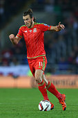 Gareth Bale of Wales during the UEFA EURO 2016 Group B Qualifier match at the Cardiff City Stadium on October 13 2015 in Cardiff United Kingdom