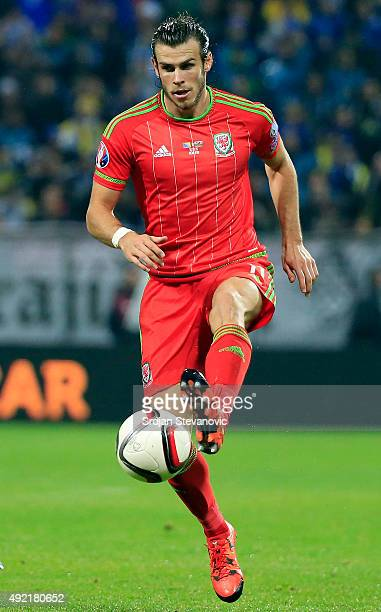 Gareth Bale of Wales in action during the Euro 2016 qualifying football match between Bosnia and Herzegovina and Wales at the Stadium Bilino Polje in...