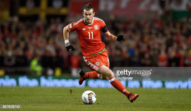 Gareth Bale of Wales in action during the FIFA 2018 World Cup Qualifier between Republic of Ireland and Wales at Aviva Stadium on March 24 2017 in...