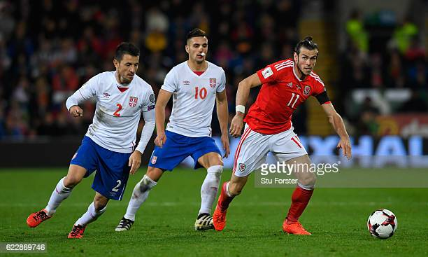Gareth Bale of Wales in action during the FIFA 2018 World Cup Qualifier between Wales and Serbia at Cardiff City Stadium on November 12 2016 in...