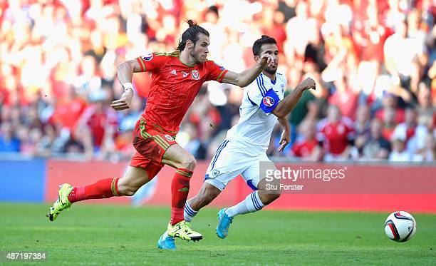 Gareth Bale of Wales in action during the UEFA EURO 2016 Qualifier between Wales and Israel at Cardiff City Stadium on September 6 2015 in Cardiff...