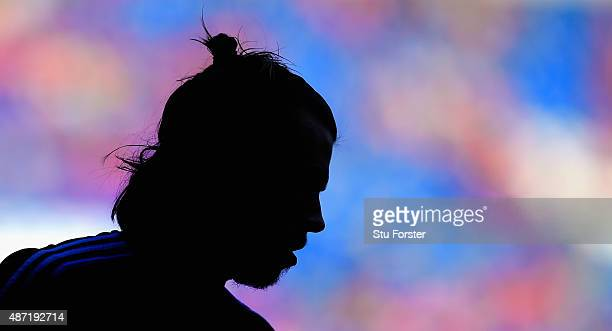 Gareth Bale of Wales looks on before the UEFA EURO 2016 Qualifier between Wales and Israel at Cardiff City Stadium on September 6 2015 in Cardiff...