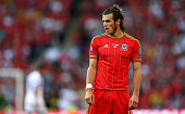 Gareth Bale of Wales looks on during the UEFA EURO 2016 Qualifying Match between Wales and Israel at the Cardiff City Stadium on September 6 2015 in...