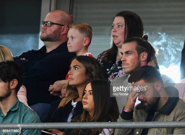 Gareth Bale of Wales looks on from the stands during the FIFA 2018 World Cup Group D Qualifier between Wales and Republic of Ireland at the Cardiff...